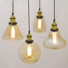 Retro Vintage Pendant Lights Clear Glass Lampshade